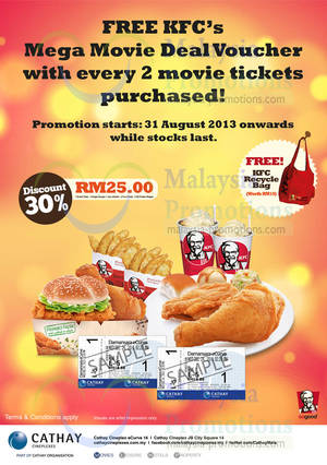 Featured image for Cathay Cineplexes FREE KFC Mega Movie Deal Voucher With Every Two Tickets 31 Aug 2013