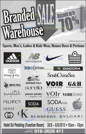 Featured image for Branded Warehouse SALE Up To 70% Off @ Hotel Sri Petaling 30 Aug – 8 Sep 2013