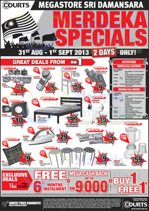 Featured image for Courts TVs, Sofa Sets, Home Theatre Systems & Other Electronics Offers 31 Aug – 1 Sep 2013