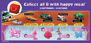 Featured image for McDonald's FREE Hot Wheels /Barbie Toys 19 Sep – 16 Oct 2013