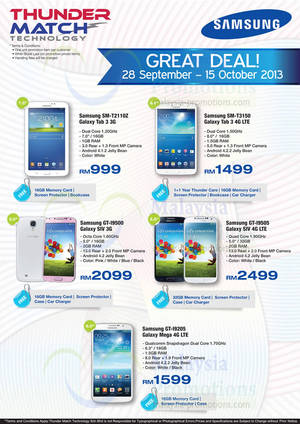 Featured image for Samsung Galaxy Smartphones & Tablets Offers @ Thunder Match 28 Sep 2013