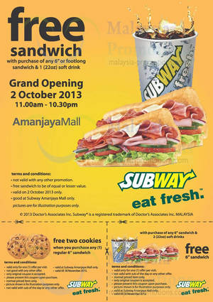 Featured image for Subway Buy 1 Get 1 FREE Promo @ Amanjaya Mall 2 Oct 2013