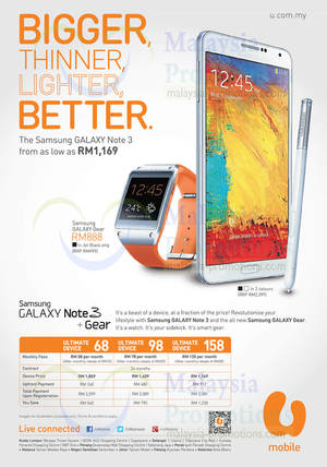 Featured image for U Mobile Samsung Galaxy Note 3 & Galaxy Gear Price Plans 30 Sep 2013