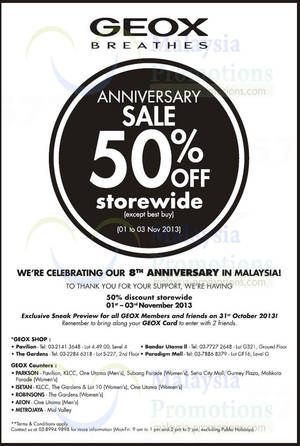 Featured image for Geox 50% Off Storewide 8th Anniversary SALE 1 – 3 Nov 2013