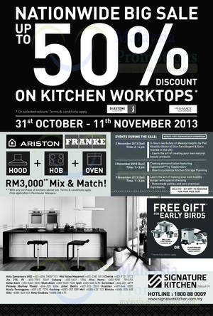 Featured image for Signature Kitchen Up To 50% OFF Kitchen Tops SALE @ Nationwide 31 Oct – 11 Nov 2013