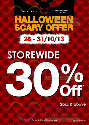 Featured image for Giordano Storewide 30% OFF Promo 29 – 31 Oct 2013