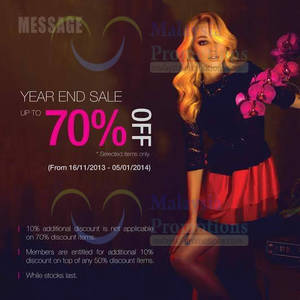 Featured image for Message Boutique Year End SALE @ 1 Utama 24 Nov 2013 – 5 Jan 2014