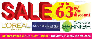 Featured image for OnlyBeauty L'Oreal Paris Up To 63% OFF Mega SALE @ The Jetty Melaka 28 Nov – 1 Dec 2013