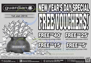 Featured image for Guardian Up To RM40 FREE Vouchers New Year Promo 1 Jan 2014