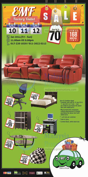 Featured image for Exporters & Manufacturers (EMF) Up To 70% OFF Furniture Warehouse Clearance 10 – 12 Jan 2014