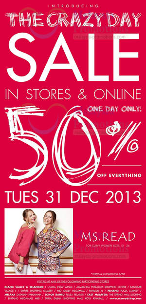Featured image for MS. Read 50% OFF Storewide SALE 31 Dec 2013