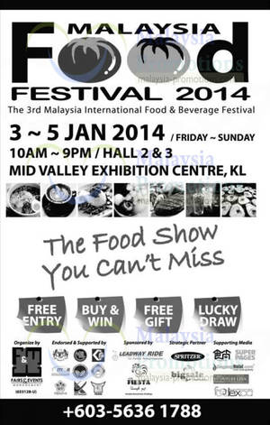 Featured image for Malaysia Food Festival @ Mid Valley Exhibition Centre 3 – 5 Jan 2014