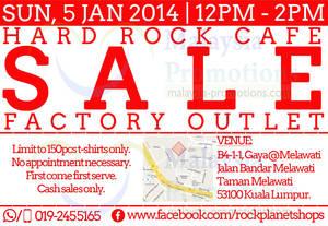 Featured image for Rock Planet Shops Hard Rock Cafe T-Shirt SALE @ Taman Melawati 5 Jan 2014