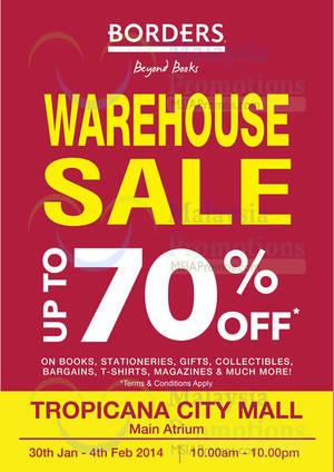 Featured image for Borders Warehouse SALE @ Tropicana City Mall 30 Jan – 4 Feb 2014