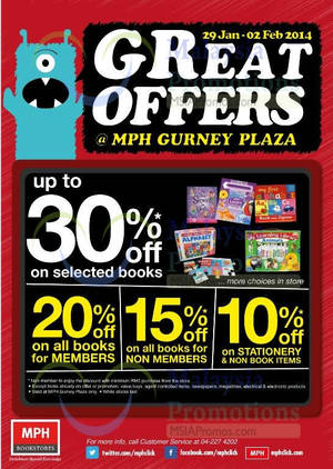 Featured image for MPH Bookstores 15% OFF Books Storewide Promo @ Gurney Plaza 29 Jan – 2 Feb 2014
