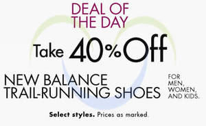Featured image for Amazon.com 40% OFF New Balance Trail-Running Shoes 27 – 28 Feb 2014