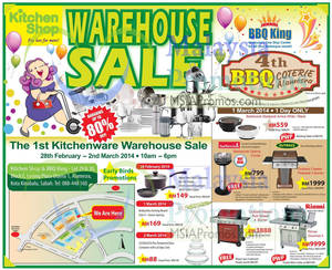 Featured image for Kitchen Shop & BBQ King Warehouse SALE @ Kota Kinabalu 28 Feb – 2 Mar 2014