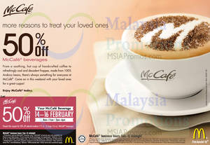 Featured image for McDonald's McCafe 50% OFF Beverages Coupon 14 – 16 Feb 2014