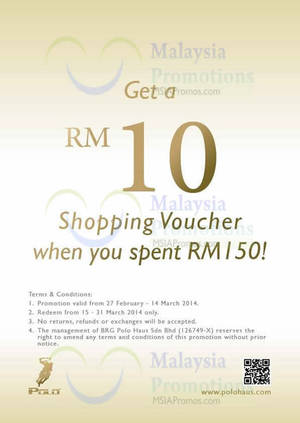 Featured image for Polo Haus FREE RM10 Voucher With RM150 Spend @ Selected Outlets 27 Feb – 14 Mar 2014
