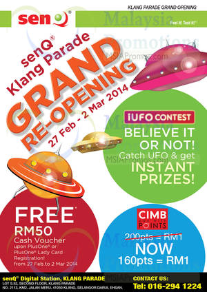 Featured image for SenQ Grand Re-Opening Promo Offers @ Klang Parade 27 Feb – 2 Mar 2014