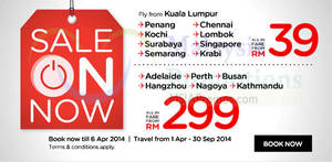Featured image for Air Asia From RM39 Air Fares SALE 31 Mar – 6 Apr 2014