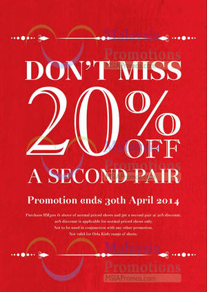 Featured image for Clarks 20% OFF 2nd Pair Promo 21 Mar – 30 Apr 2014