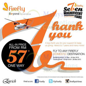 Featured image for Firefly RM57 Any Domestic Destination Air Fares Promo 31 Mar – 20 Apr 2014
