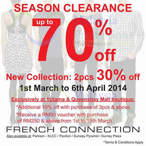 Featured image for French Connection Up To 70% OFF Season Clearance 1 Mar – 16 Apr 2014