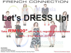 Featured image for French Connection RM100 OFF All Dresses Storewide 16 – 31 Mar 2014