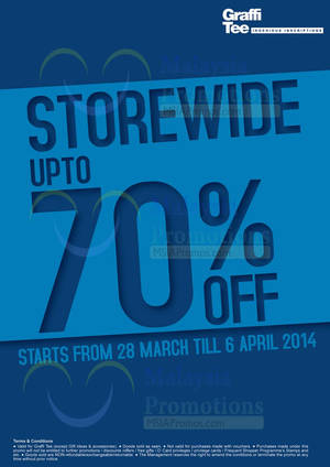 Featured image for Graffi Tee Storewide Up To 70% OFF SALE 28 Mar – 6 Apr 2014