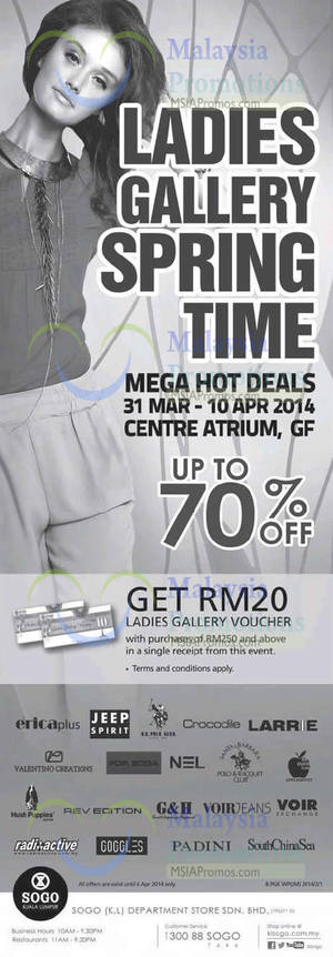 Featured image for KL Sogo Ladies Gallery Spring Time Deals 31 Mar – 10 Apr 2014