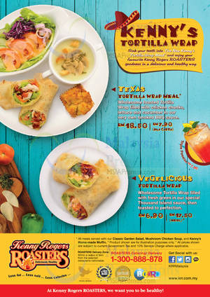 Featured image for Kenny Rogers Roasters NEW Tortilla Wrap Meal 31 Mar 2014