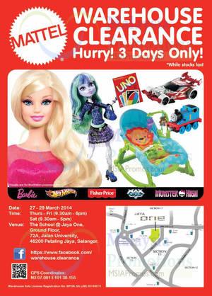 Featured image for Mattel Warehouse Clearance SALE @ Petaling Jaya 27 – 29 Mar 2014