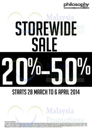 Featured image for Philosophy Men Up To 50% OFF SALE 28 Mar – 6 Apr 2014