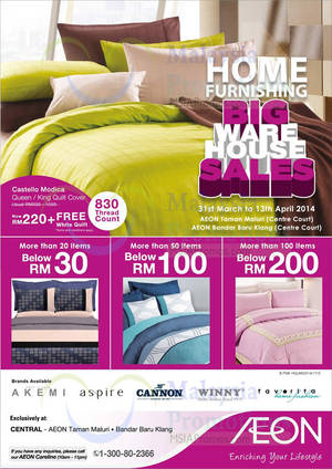 Featured image for AEON Home Furnishing Warehouse SALE @ Taman Maluri & Bandar Baru Klang 31 Mar – 13 Apr 2014