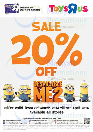 """Featured image for Toys """"R"""" Us 20% OFF Despicable Me 2 SALE 29 Mar – 30 Apr 2014"""