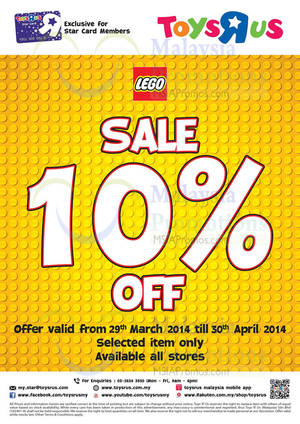 """Featured image for Toys """"R"""" Us 10% OFF Lego Promo 29 Mar – 30 Apr 2014"""