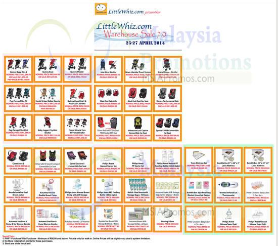 24 Apr Price List Strollers, Car Seats, Mattresses, Breast Pump