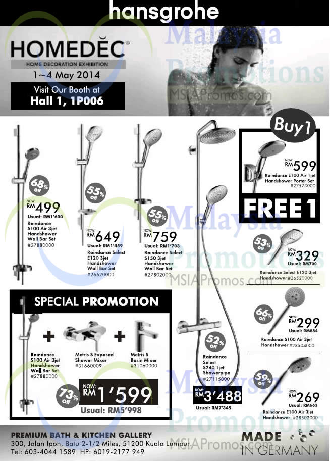 30 Apr Hansgrohe Showerheads Buy 1 Get 1 Free Special Promotion Homedec Home Decoration