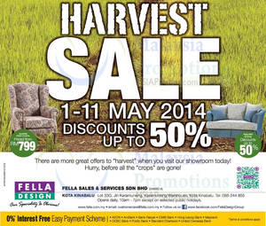 Featured image for Fella Design Up To 50% OFF Harvest Sale @ Kota Kinabalu 1 – 11 May 2014