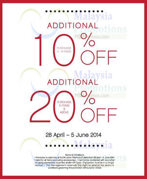 Featured image for Flow Up to 20% OFF @ Johor Premium Outlets 28 Apr – 5 Jun 2014