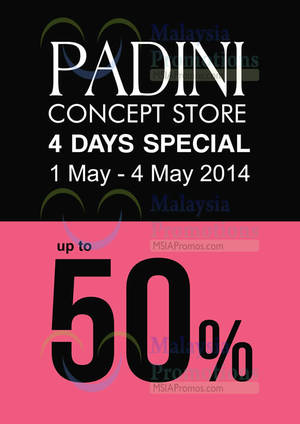 Featured image for Padini Up To 50% OFF 1 – 4 May 2014