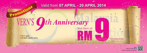 Featured image for Vern's RM9 2nd Item 9th Annviersary Promo 7 Apr – 16 May 2014