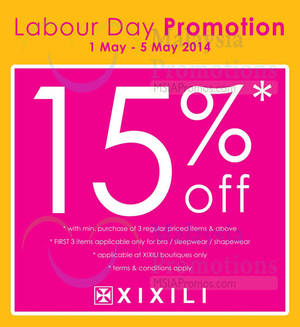 Featured image for Xixili 15% OFF Labour Day Promo 1 – 5 May 2014