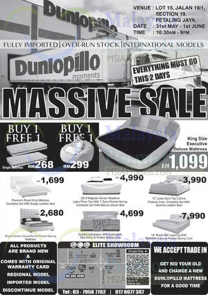 Featured image for MFO Dunlopillo Massive Sale @ Petaling Jaya 31 May – 1 Jun 2014