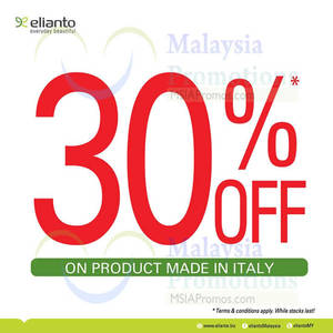Featured image for Elianto 30% OFF Italy Products Promo 23 – 25 May 2014