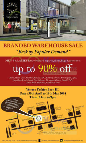 Featured image for Fashion Icon Luxury Branded SALE @ Kuala Lumpur 30 Apr – 18 May 2014
