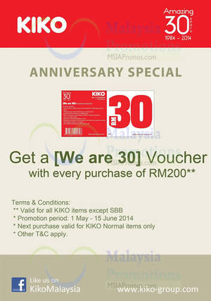 Featured image for Kiko Spend RM200 Get FREE RM30 Voucher 1 May – 15 Jun 2014
