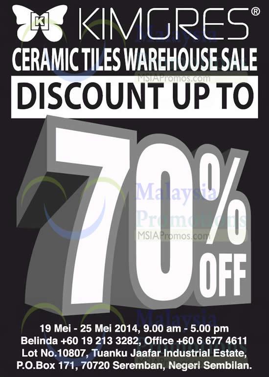 Kimgres Ceramic Tiles Warehouse Sale @ Negeri Sembilan 19 – 25 May 2014