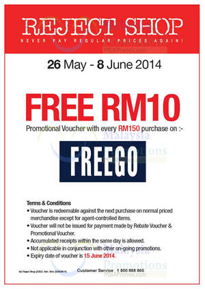 Featured image for Reject Shop FreeGo FREE RM10 Voucher Promo 26 May – 8 Jun 2014